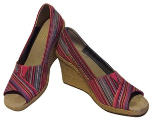 TOMS Red - multi color stripes Wedges