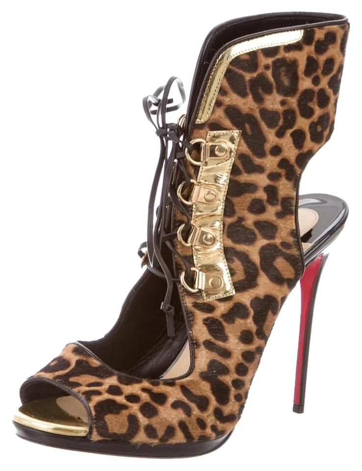 5 Christian Louboutin Brown Pony Leopard Troubida Pumps Sandal Open Toe Strappy Ankle 38 8 Bootie 7r7Zq