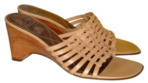 Circa Joan & David Stacked Wedge Heels Mules Keeper Bag Beige Sandals
