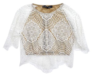 For Love & Lemons White Nude Lace Cropped Top