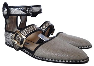 Jimmy Choo Python Canvas Ankle Strap Sandal Black and Natural Flats