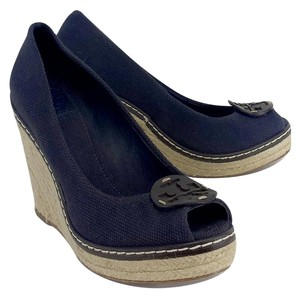 Tory Burch Navy Canvas Espadrille Wedges