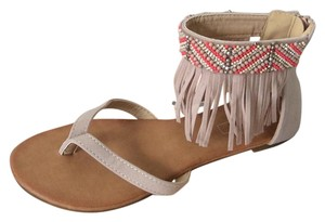 Yoki Taupe with multicolored beads Sandals