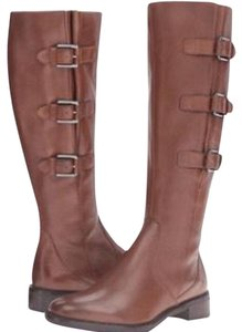 Ecco leather boots Zipper Low Heel Brown Boots