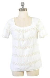 J.Crew Embroidered Eyelet Top White