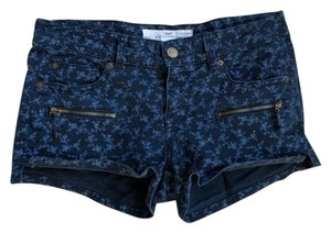 H&M Denim Floral Small Flowers Mini/Short Shorts Blue