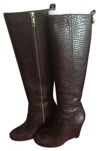 Tory Burch Croc Leather Wedge brown Boots