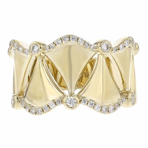 Other 0.30ct Bezel And Pave Set Diamond 14k Yellow Gold Crown Ring