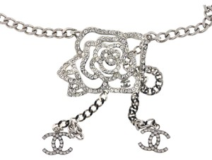 Chanel Chanel Faux Crystal Camellia Flower Silver Tone Belt