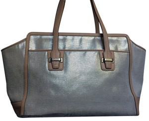 Coach Large Carryall Tote in Silver Metallic