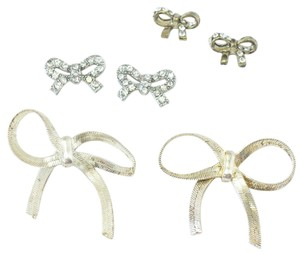 Other Adorable Set of 3 Bow Earrings | Gold + Silver | Rhinestone Earrings