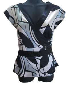 BCBGMAXAZRIA Wrap Abstract Formal Career Job Top Multicolored