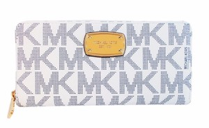 Michael Kors Signature Continental Zip Wallet Fits Checkbook Nwt Navy White Clutch