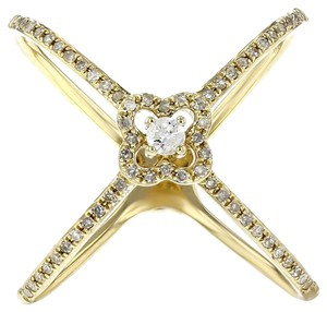 Other 0.26ct Diamond 14k Yellow Gold X Ring