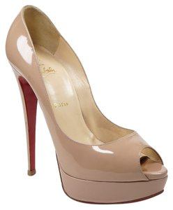 Christian Louboutin Lady Peep 41 Patent Leather Nude Pumps