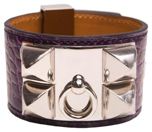 Hermès Hermes Amethyst Alligator Collier De Chien (CDC) Small Bracelet
