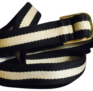 Gucci Signature Gucci Adjustable Ribbon Belt in Tan & Black