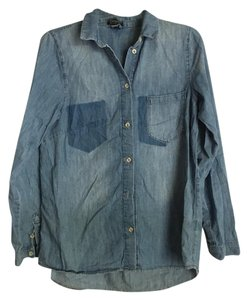Topshop Button Down Shirt Blue