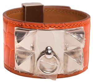 Herms Hermes Orange Alligator Collier De Chien (CDC) Bracelet Small
