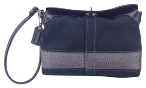 Coach 42026 Canvas Leather Capacity Signature Wristlet in Black and Gunmetal