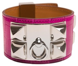 Hermès Hermes Rose Scheherazade Alligator Collier De Chien (CDC) Bracelet