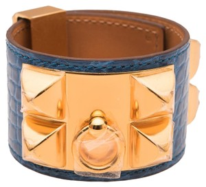 Hermès Hermes Blue Izmir Alligator Collier De Chien (CDC) Bracelet Small
