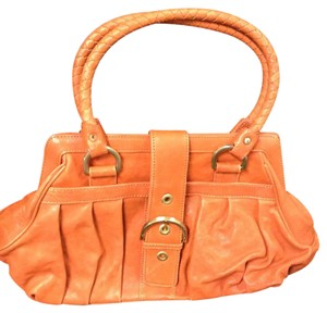Isabella Adams Lambskin Leather Brass Satchel in Orange