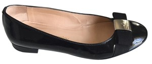 Russell and Bromley Patent Leather Grosgrain Bow Ballet Ballerinas Black Flats