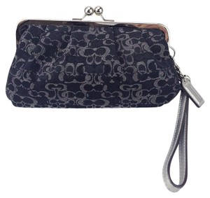 Coach Lurex Kiss Lock Framed Clutch Wristlet in Black and Silver