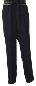 Ann Taylor Eco Leather Drawstring Waist Relaxed Pants Navy blue/ black