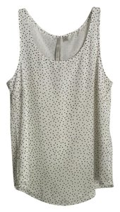 LC Lauren Conrad Top White Black Polka Dot