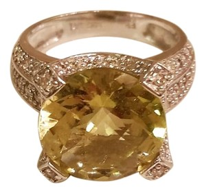 Ross-Simons GORGEOUS Lime Citrine Ring SZ 5 in 14k White Gold Diamond Pave