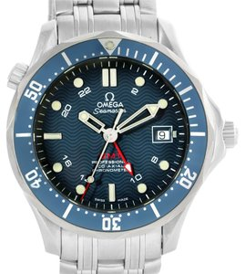 Omega Omega Seamaster Bond 300M GMT Blue Dial Watch 2535.80.00 Box Papers
