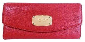 Michael Kors Jet Set Slim Flap Wallet Fits Checkbook Nwt Leather Red Clutch
