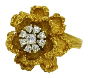 18K Yellow Gold and Diamond Rose Flower Engagement Ring,