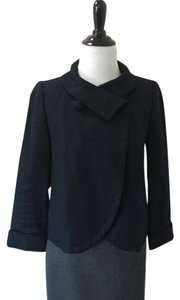 J.Crew Round Collar 3/4 Sleeve Cropped Navy Blue Blazer