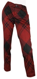 Gucci Checkprint Holiday Dresspants 326489 Capris Red/Black