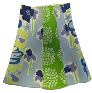 Marimekko Floral Cotton A-line Summer Skirt blue green