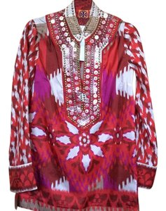 Tory Burch Intense Hues Richly Embellished Thigh Length 100%silk Bell Sleeves Tunic