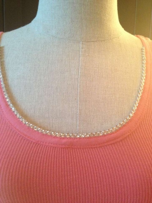 Other Pink White Swarovski Crystal Fancy Nightout Crop Top Peachy Keen