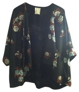 Pins and Needles Floral Top black, white, orange, teal