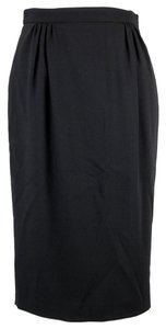 Gucci Wool Pleated Pencil 319343 Skirt Black
