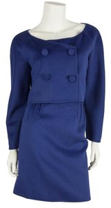 Valentino Blue Wool Double Breasted Bolero & Skirt Set