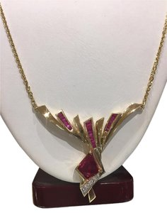 Art Deco 14k Ruby & Diamond Pendant Art Deco 14k Ruby & Diamond Pendant