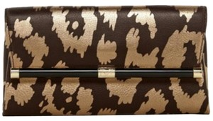 Diane von Furstenberg Hardware Leather Leopard 70's Gold and brown Clutch