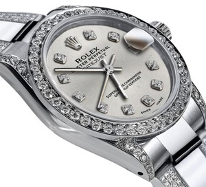 Rolex Ladies 31mm Oyster Perpetual Datejust Custom Diamonds Silver Dial