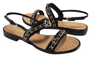 Chanel Classic Chain Chain Logo 35 Black Sandals