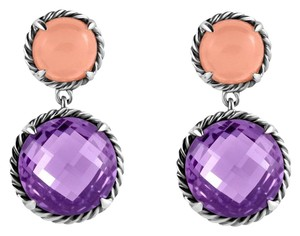David Yurman Chatelaine Double Drop Earrings With Amethyst & Guava Quartz