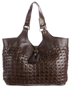 Mulberry Woven Leather Tote in Chocolate