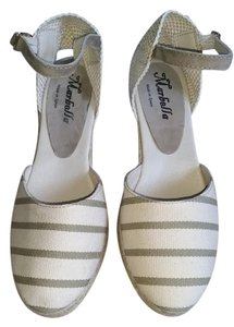 Marbella Espadrilles Ivory and Kaki Wedges